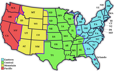Map of US Timezones